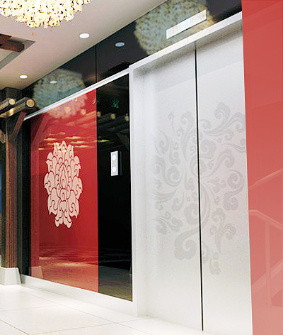 red and silver residential lifts